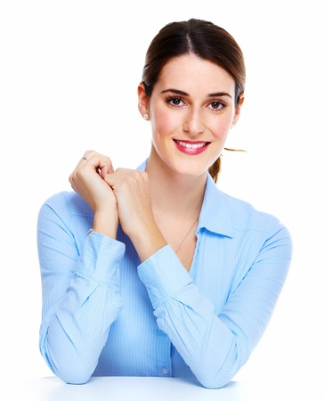 Business woman. Isolated over white background. Stock Photo