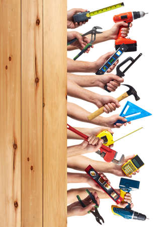 are working: DIY tools set collage. Isolated on white background. Stock Photo