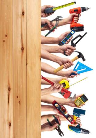 herramientas de construccion: Herramientas de bricolaje establece collage. Aislado sobre fondo blanco.