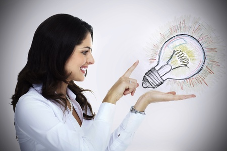 Business woman with lightbulb  Idea concept background  photo