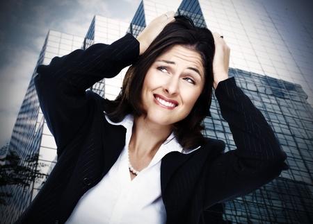 suffer: Women having stress  Depression background