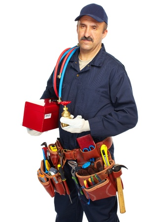 Handyman with a tool belt  Isolated on white background  photo