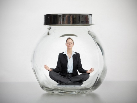 Business woman in jar  Phisical pressure concept  Stock Photo