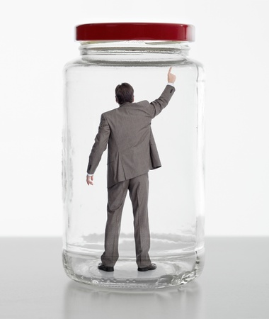 phisical: Business woman in jar. Phisical pressure concept.