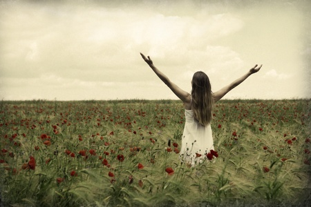 Happy beautiful woman in meadow. Freedom concept background. Stock Photo - 22145450