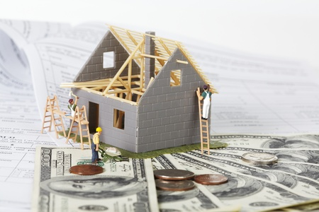 Family house with money  Construction background  photo
