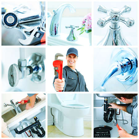 home renovation: Young plumber with ajustable wrench collage background.