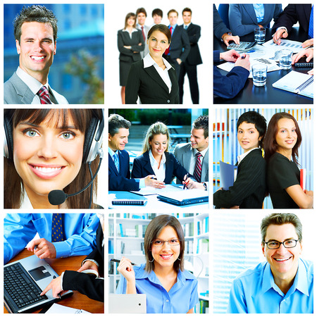 Businessman and businesswoman collage background  Teamwork Stock Photo - 23180514