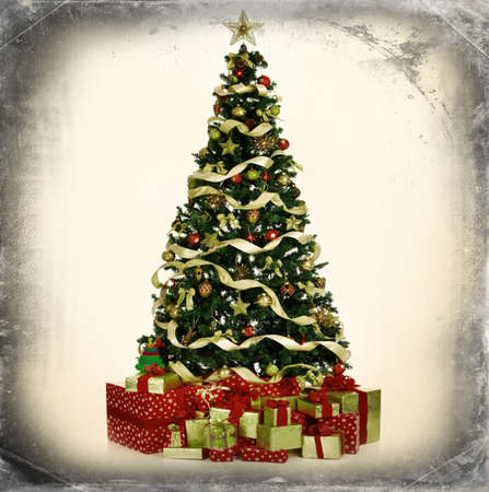 christmas background: Christmas Tree and Gifts. Over grey vintage background.