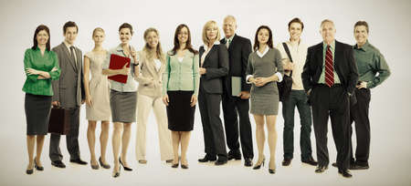 old photo: Group of business people. Business team. over grey background Stock Photo