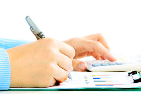 estimation: Hands of accountant with calculator and pen. Accounting background. Stock Photo