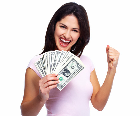 holding close: Happy young smiling woman holding cash, isolated over white background