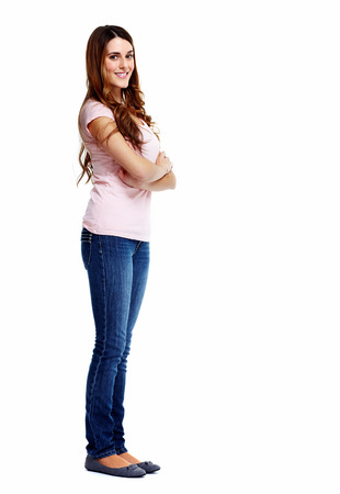univercity: Standing woman. Isolated on white background. Stock Photo