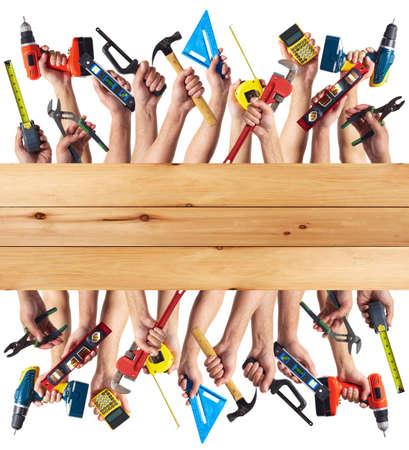 outils construction: Outils de bricolage fix� collage. Isol� sur fond blanc.
