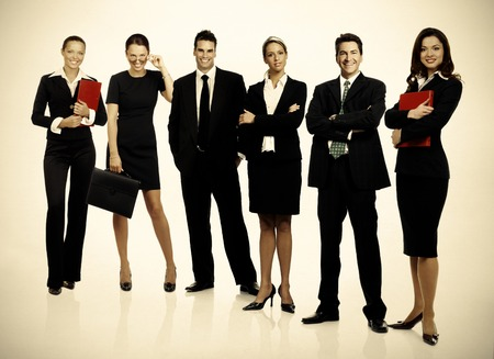 Group of business people. Business team. over grey background photo