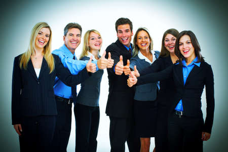Bussiness team of men and women thumbs up photo