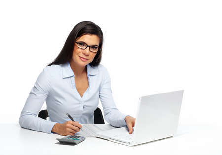calculator chinese: Beautiful business woman working with document in office.