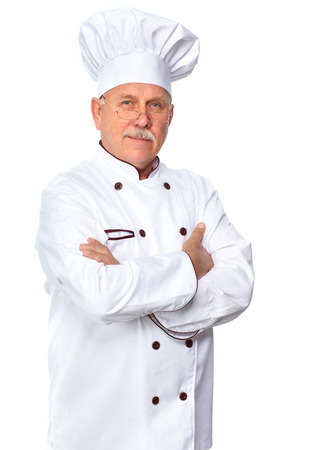 Mature professional chef man. Isolated over white background photo