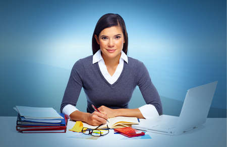 Accountant business woman working with laptop in office. photo