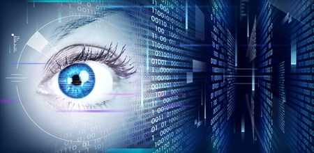 retina scan: Human eye on technology design background. Cyberspace concept.