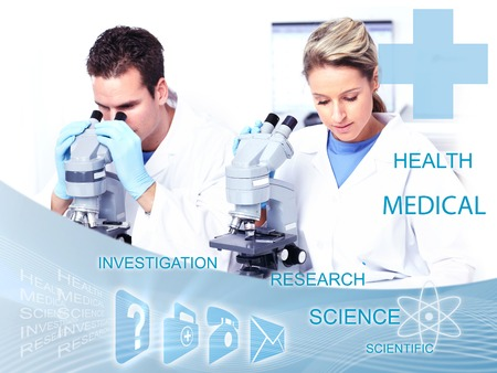 Doctors working in laboratory  Scientific health care collage  photo