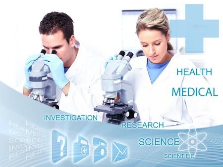 health collage: Doctors working in laboratory  Scientific health care collage  Stock Photo
