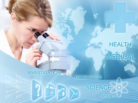 Doctor woman in laboratory  Scientific health care collage  photo