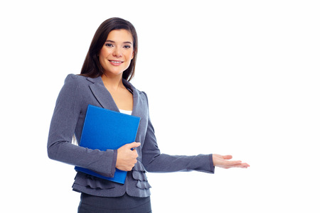 Young business woman presenting copyspace Isolated on white background.