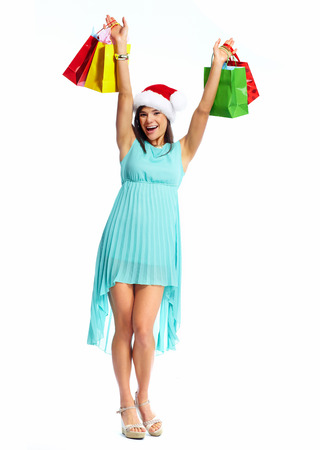 Happy Christmas girl with xmas gift. Isolated  white background. photo