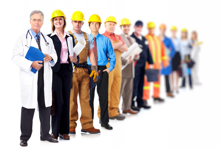 community service: Professional workers group. Business team isolated on white background.