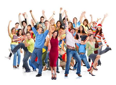 persone: Gruppo di persone felici saltando isolato su sfondo bianco.