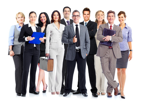 community service: Group of employee people. Business team isolated on white background. Stock Photo
