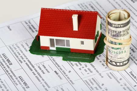 Family house with money and contract. Real estate background. Stock Photo - 22770619