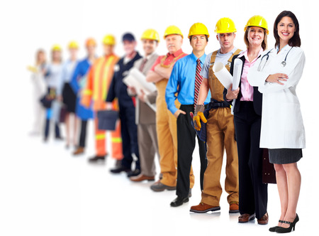 public company: Professional workers group. Business team isolated on white background.