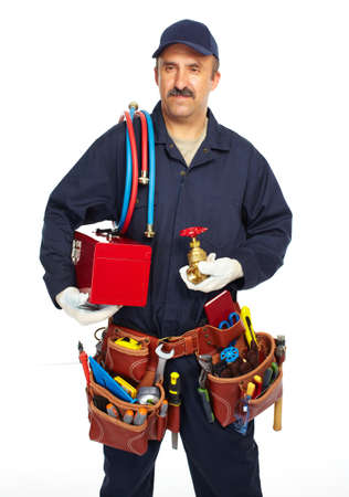 Handyman with a tool belt. Isolated on white background. photo