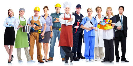 company employee: Group of employee people. Business team isolated on white background. Stock Photo
