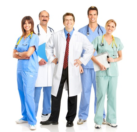 Group of medical doctors. Isolated on white background. photo