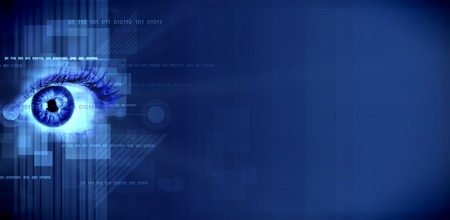 Human eye on technology design background. Cyberspace concept. photo