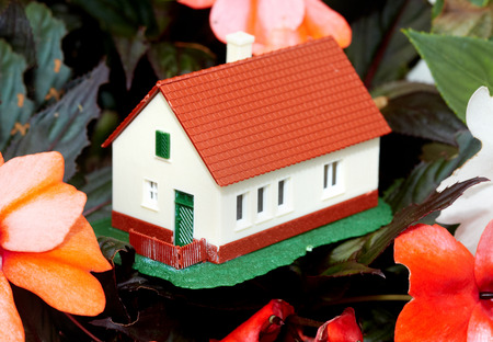 housebuilding: Family house. Real estate background.