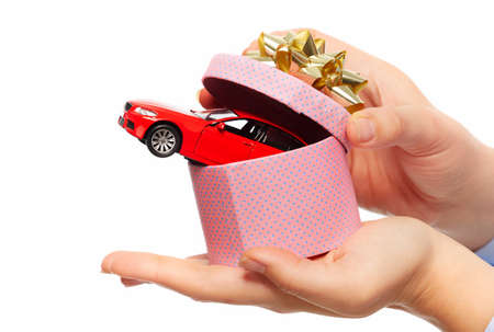 loans: New car gift. Auto dealership and rental concept background.