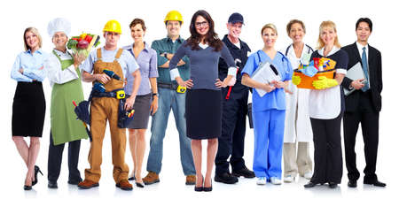 employer: Group of employee people. Business team isolated on white background. Stock Photo