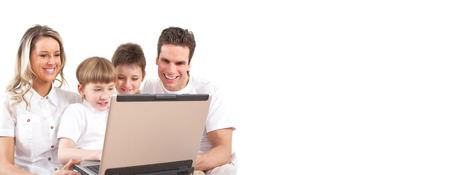 Family with laptop. Computer technology background concept. photo