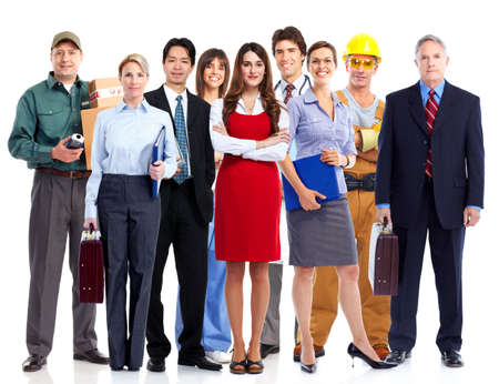 occupations and work: Group of employee people. Business team isolated on white background. Stock Photo