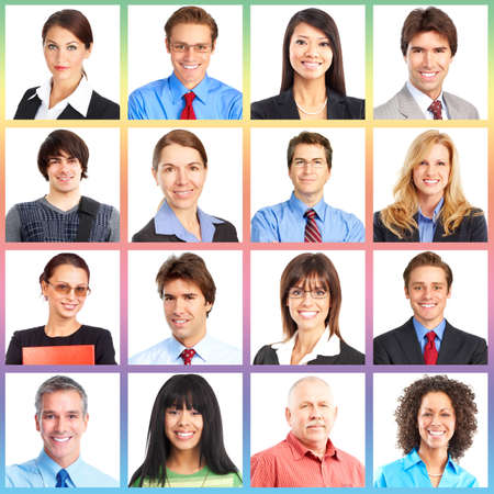 business backgrounds: La gente si affaccia collage. Uomo e donna ritratto isolato.