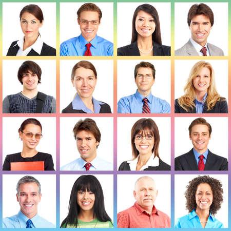 working people: Menschen Gesichter Collage. Mann und Frau getrennt.