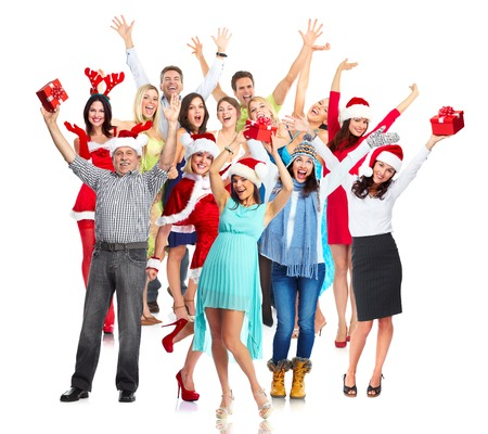 Group of happy dancing people. Christmas party. photo