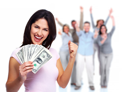 Happy young woman with money  Saving account concept  photo