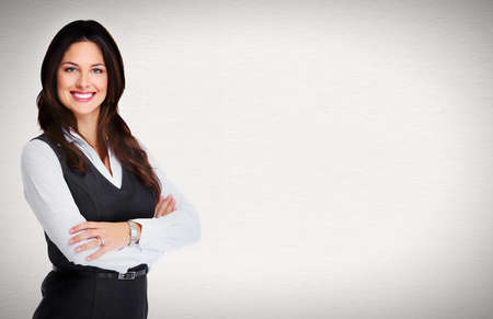 accountant: Portrait of happy young business woman