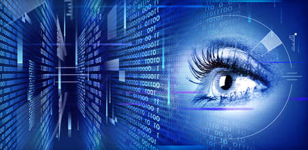 technology concept: Human eye on technology design illustration. Cyberspace concept.