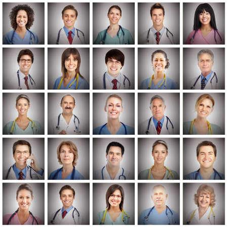 profesionálové: Lékař čelí set koláž koncepce zdravotní péče